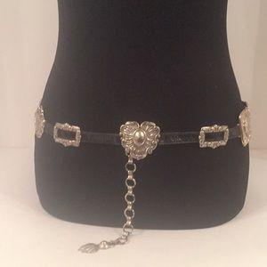 Vintage Brighton Black Leather Concho Belt